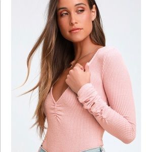 Free People Cozy Up With Me Ribbed Bodysuit - Pink